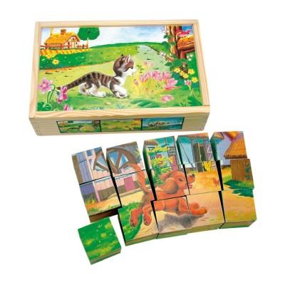 Állatos fa kockapuzzle, 15 darabos