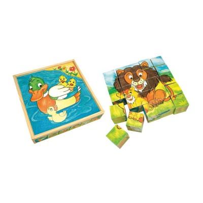 Állatos fa kockapuzzle, 25 darabos