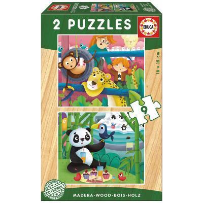 Educa Állatkert öko fa puzzle, 2x9 darabos