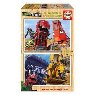 Educa Dinotrux fa puzzle, 2X16 darabos
