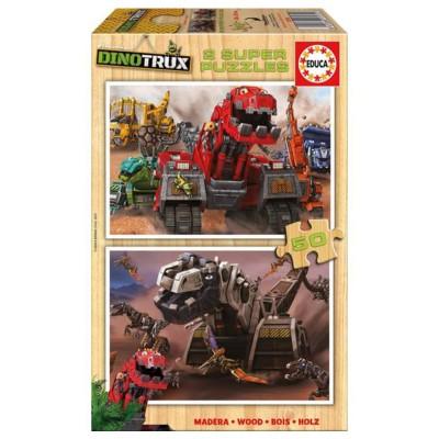 Educa Dinotrux fa puzzle, 2X50 darabos