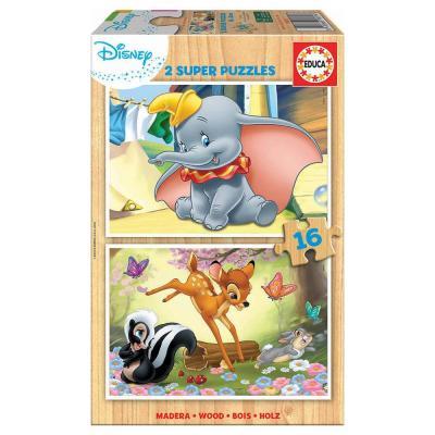 Educa Disney Bambi és Dumbo fa puzzle, 2x16 darabos