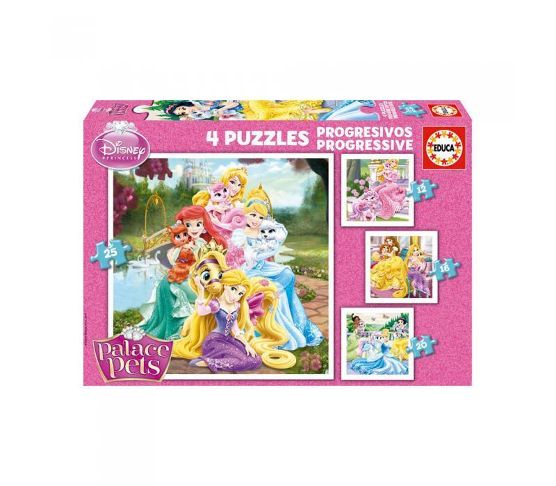 Educa Disney Hercegnők Palace Pets puzzle, 4 az 1-ben