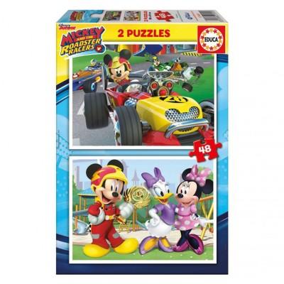 Educa Disney Mickey Egér autóverseny puzzle, 2X48 darabos