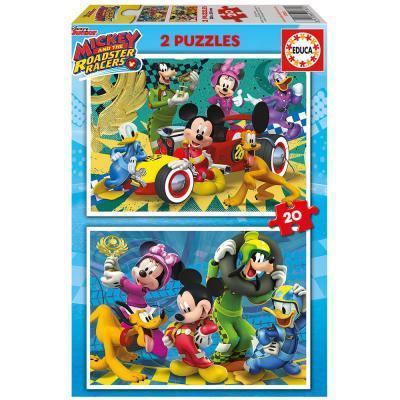 Educa Disney Mickey Egér autóverseny puzzle, 2x20 darabos