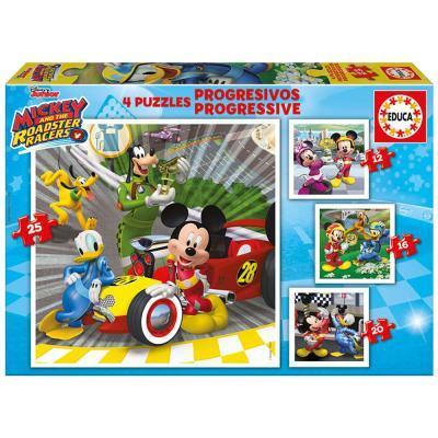 Educa Disney Mickey Egér autóverseny puzzle, 4 az 1-ben