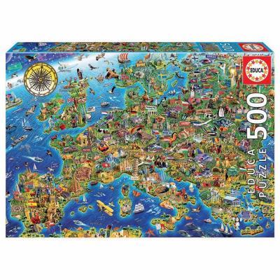 Educa Európa térképe gyerek puzzle, 500 darabos