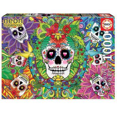 Educa Koponyák neon puzzle, 1000 darabos