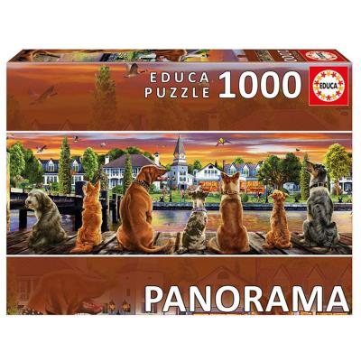 Educa Kutyák a mólón panoráma puzzle, 1000 darabos