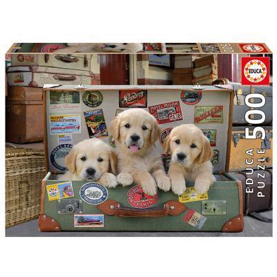 Educa Kutyakölykök a bőröndben puzzle, 500 darabos