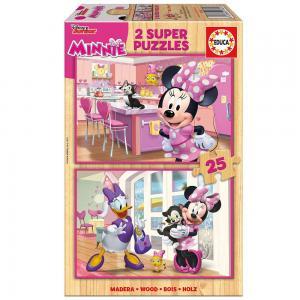 Educa Minnie egér boldog segítői fa puzzle, 2 x 25 darabos