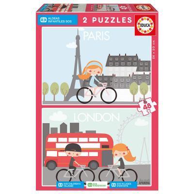 Educa Párizs és London gyerek puzzle, 2x48 darabos
