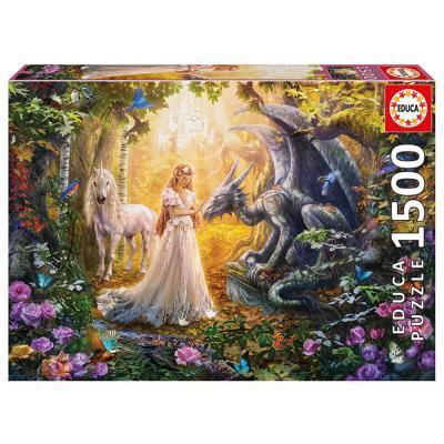 Educa Sárkány, hercegnő és egyszarvú puzzle, 1500 darabos