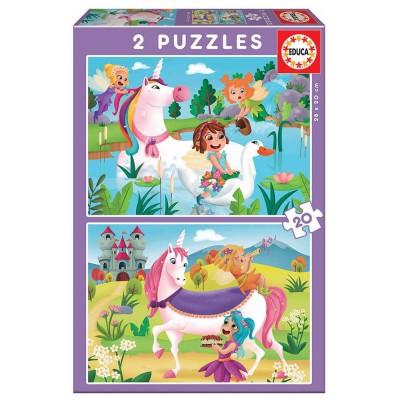Educa Unikornisok és tündérek puzzle, 2x20 darabos
