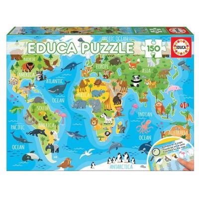 Educa Állati világtérkép puzzle, 150 darabos