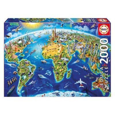 Educa Nevezetességek a világ körül puzzle, 2000 darabos