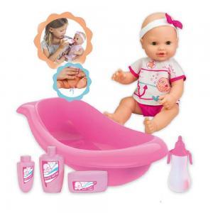 Loko pisilő baba fürdőkáddal, tisztálkodószerekkel és cumisüveggel