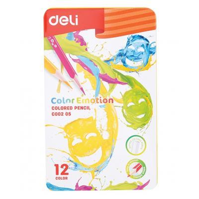 Fémdobozos 12 db-os színesceruza készlet, DELI
