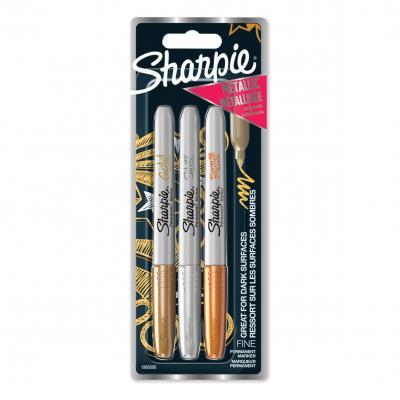 Alkoholos kreatív filctoll készlet - 3db-os metál színek (arany, ezüst, bronz)  ajándék tolltartóval