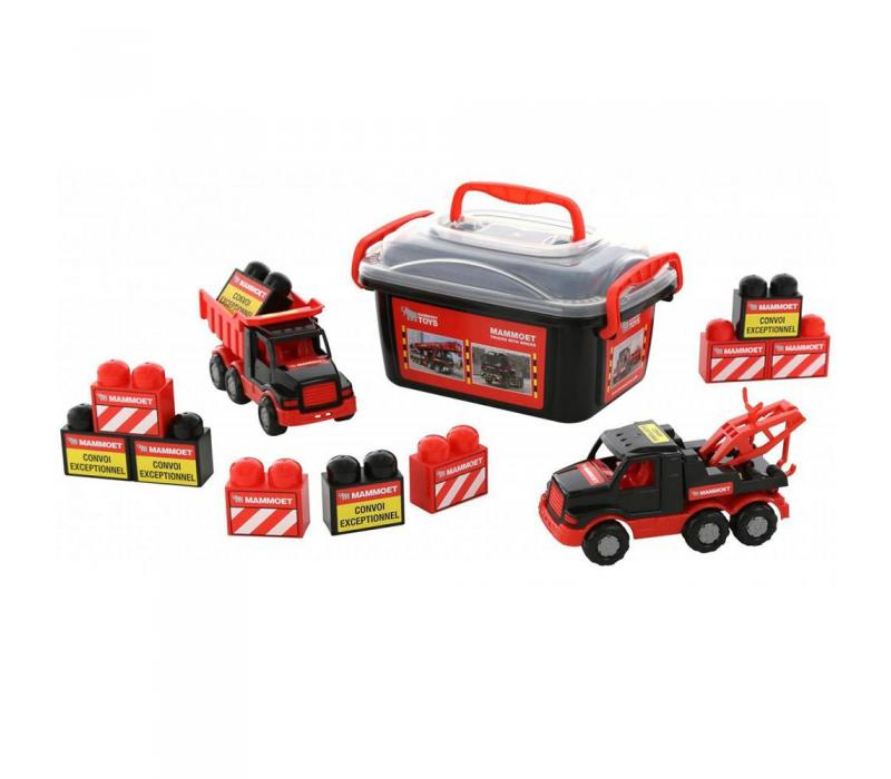 Mammoet mini teherautók, építőkockákkal