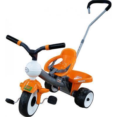 Szülőkaros tricikli, narancssárga