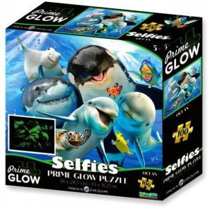 Óceán szelfi neon puzzle, 100 darabos