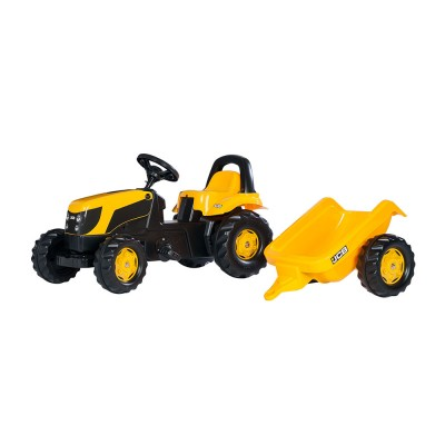 Rolly Kid JCB pedálos traktor utánfutóval