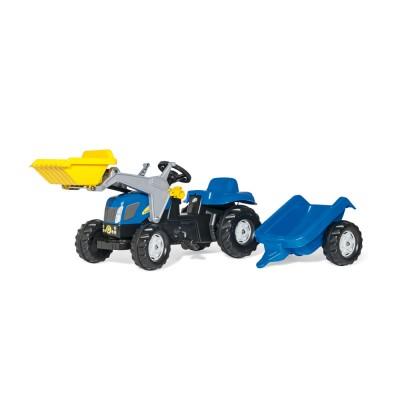 Rolly Kid New Holland T 7040 pedálos markolós traktor utánfutóval