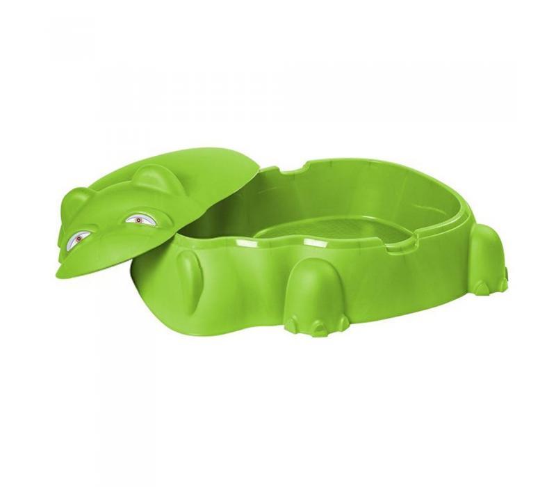 Starplast vízilovas homokozó fedéllel, zöld