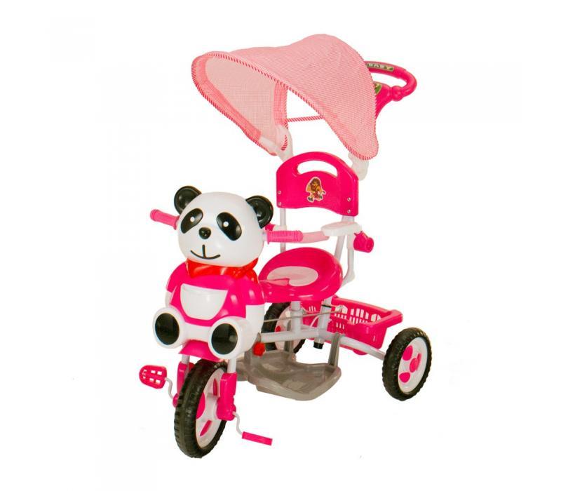 Pandás fedeles tricikli, rózsaszín