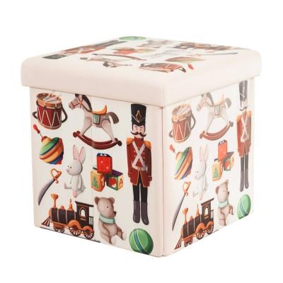 Összecsukható ülőkés tároló, retro játékok mintával