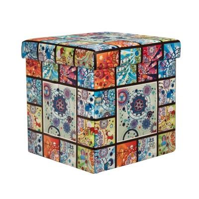 Összecsukható ülőkés tároló, színes kockák mintával