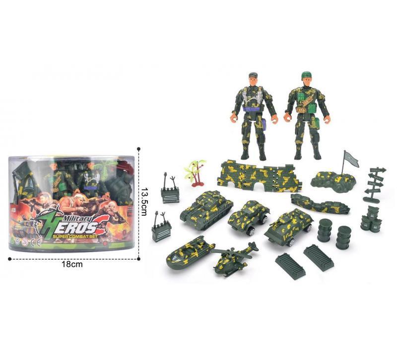 Műanyag katonai játék szett vödörben