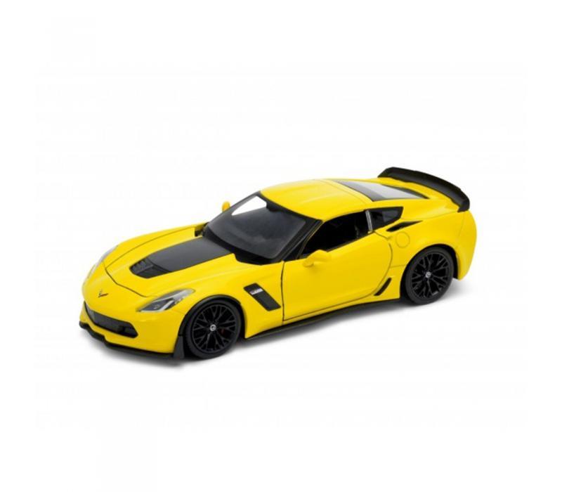 Welly Chevrolet Corvette Z06 2017 sárga kisautó, 1:24