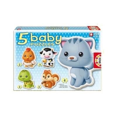 Educa Állatok bébi puzzle, 5 az 1-ben 13473