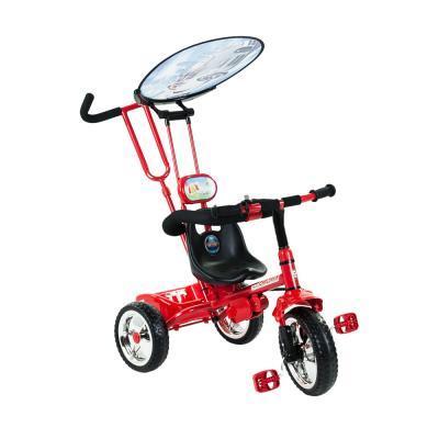 Piros, mintás fedeles tricikli